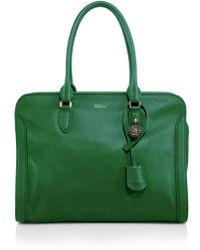 Alexander McQueen Padlock Large Zip Satchel green - Lyst
