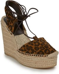 Saint Laurent Leopard-Print Suede Espadrille Wedge Sandals - Lyst