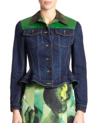 Burberry Prorsum Patent-Trim Denim Jacket blue - Lyst