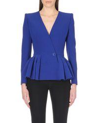 Alexander McQueen Peplum Crepe Jacket - For Women - Lyst