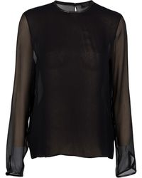 The Row Charlie Leather Trim Blouse - Lyst