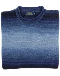 Ralph Lauren Blue Label Shades Of Blue Linen Sweater - Lyst