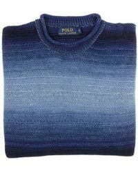 Ralph Lauren Blue Label Shades Of Blue Linen Sweater blue - Lyst