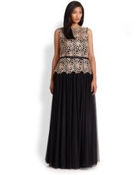 Tadashi Shoji Embroidered Tulle Gown - Lyst
