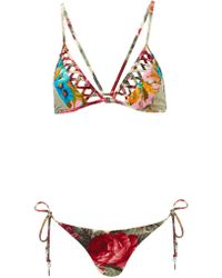 Zimmermann Sundance Lattice Triangle Bikini - Lyst