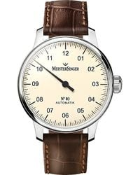 Meistersinger - Am903 No.03 Stainless Steel And Leather Watch - Lyst