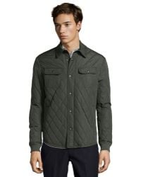 Vince Olive Quilted Poly Woven Long Sleeve Cpo Jacket - Lyst