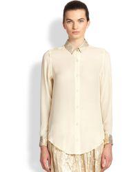 TOME LamÉ-Collar Shirt - Lyst