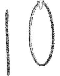 Lucky Brand - Modern Shine Black Hoop Earrings 2.25 Inches - Lyst