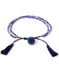 Tai - Blue Pom-pom Stone Beaded Bracelet - Lyst