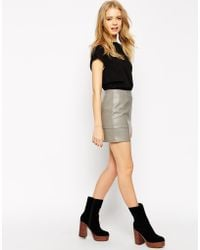 Asos Mini Skirt In Leather Look - Lyst
