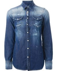 DSquared2 Washed Denim Shirt - Lyst