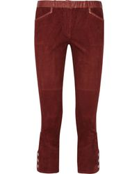 Isabel Marant Ethan Leathertrimmed Suede Skinny Pants - Lyst