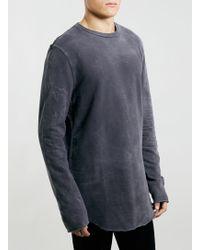 Topman Black Washed Raw Edged Longer Length Sweatshirt - Lyst