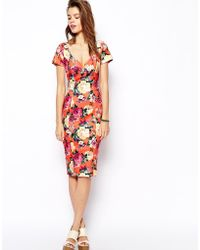 Asos Scuba Pencil Dress in Bright Floral Print with Sweetheart Neck - Lyst