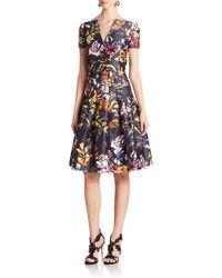 Oscar de la Renta Floral Splitneck Dress - Lyst