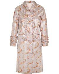 Miu Miu Ruffled Floral-Print Taffeta Coat - Lyst