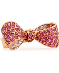 Mimi So - Bow Mid Size 18k Rose Gold Pink Sapphire & Diamond Ring - Lyst