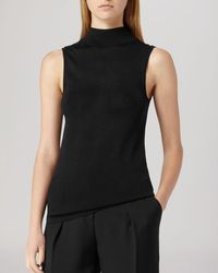 Reiss Top  Turin High Neck Sleeveless Knit - Lyst