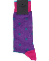 Duchamp Contrast Spot Stretchcotton Socks Purple - Lyst