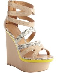L.a.m.b. Khaki and Yellow Leather Python Accent Jenelle Wedge Sandals - Lyst
