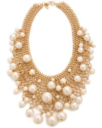 Kenneth Jay Lane - Cascading Faux Pearl Necklace Pearl - Lyst