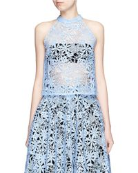 Helen Lee - Floral Guipure Lace Band Collar Top - Lyst