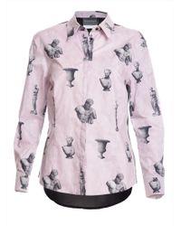 Antipodium - Arial Shirt In Mauve Grey & Black Print By - Lyst