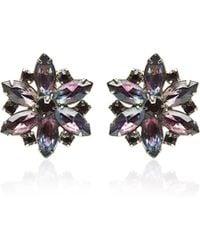 Carole Tanenbaum - Unsigned Flower Purple Rhinestone Earrings - Lyst