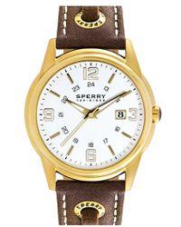 Sperry Top-Sider   'Preston' Round Leather Strap Watch   Lyst