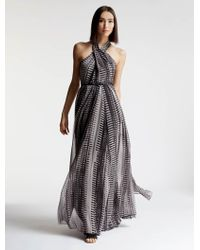 Halston | Printed Chiffon Gown | Lyst