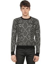 Saint Laurent Python Printed Mohair Wool Blend Sweater - Lyst
