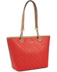 Calvin Klein Quilted Saffiano Tote - Lyst
