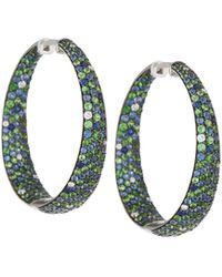Roberto Coin - Melange Pave Stone Hoop Earrings - Lyst