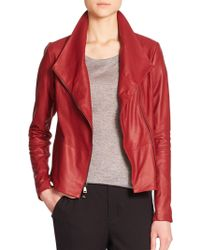 Vince Leather Scuba Jacket red - Lyst
