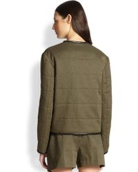 Alexander Wang Leather-Trimmed Distressed Puffer Jacket - Lyst