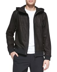 Theory Lamb Leather Hooded Zip Jacket - Lyst
