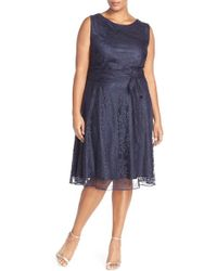 Tahari | Shimmer Lace Fit & Flare Dress | Lyst