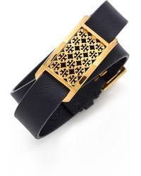 Tory Burch Kinsley Double Wrap Bracelet Tory Navyshiny Brass - Lyst