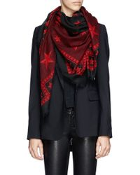 Givenchy Star and Stud Print Wool Scarf - Lyst