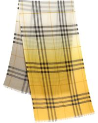 Burberry  Silk and Wool Check Scarf yellow - Lyst