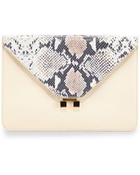 Etienne Aigner - Forester Snake-Embossed Leather Envelope Clutch - Lyst