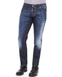 DSquared² Slim-Fit Medium-Wash Denim Jeans With Chain - Lyst