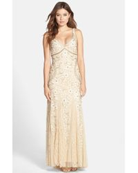 Sue Wong Beaded Mesh Gown beige - Lyst