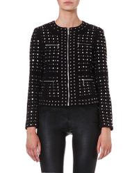 Michael by Michael Kors Studded Zip Front Jacket Black - Lyst