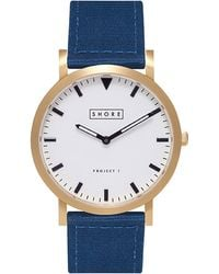 Shore Projects - Portland White Dial Navy Canvas Strap - Navy - Lyst