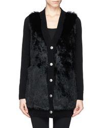 Alexander McQueen Rabbit Fur Front Long Cashmere Knit Cardigan - Lyst