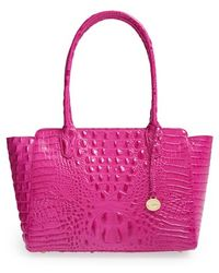 Brahmin 'Ashby' Croc Embossed Leather Tote - Lyst