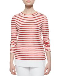 Tory Burch Striped Linen Jersey Tee - Lyst