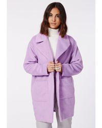 Missguided Lena Cocoon Sleeve Coat Lilac - Lyst
